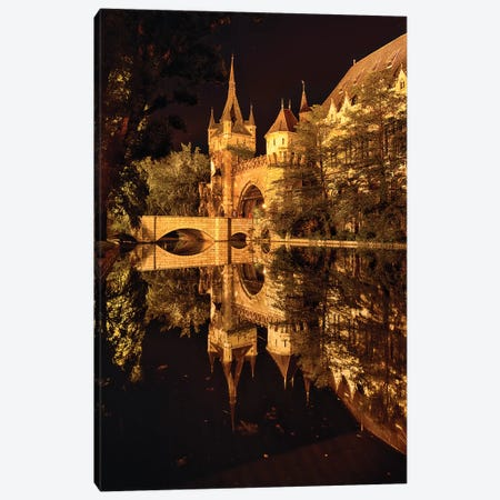 Reflections of a Castle in a Lake at Night, Budapest, Hungary Canvas Print #GOZ168} by George Oze Canvas Art