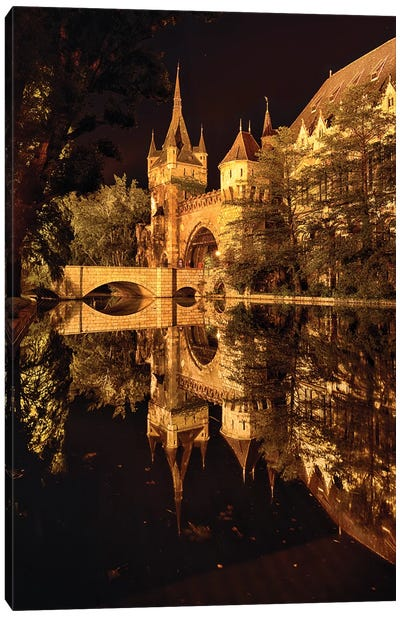 Reflections of a Castle in a Lake at Night, Budapest, Hungary Canvas Art Print
