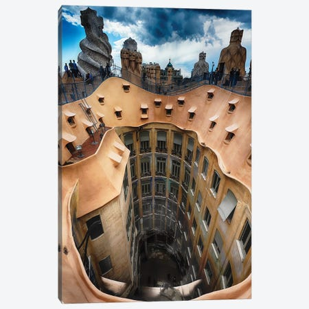 Rooftop View of Casa Mila (La Pedrera) With Group of Chimneys and Courtyard, Barcelona, Catalonia, Spain Canvas Print #GOZ173} by George Oze Art Print