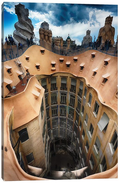 Rooftop View of Casa Mila (La Pedrera) With Group of Chimneys and Courtyard, Barcelona, Catalonia, Spain Canvas Art Print