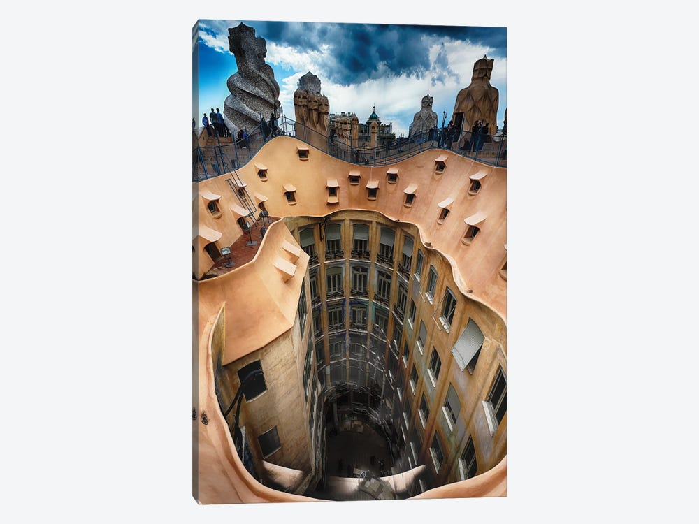 Rooftop View of Casa Mila (La Pedrera) With Group of Chimneys and Courtyard, Barcelona, Catalonia, Spain by George Oze 1-piece Canvas Wall Art