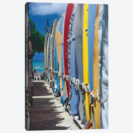 Row of Colorful Surfoards, Waikiki Beach Canvas Print #GOZ175} by George Oze Canvas Art