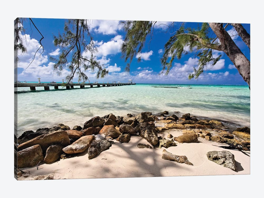 Rum Point Jetty as Viewed from the Shore, Cayman Islands by George Oze 1-piece Canvas Art Print