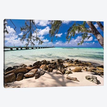 Rum Point Jetty as Viewed from the Shore, Cayman Islands Canvas Print #GOZ178} by George Oze Canvas Art Print