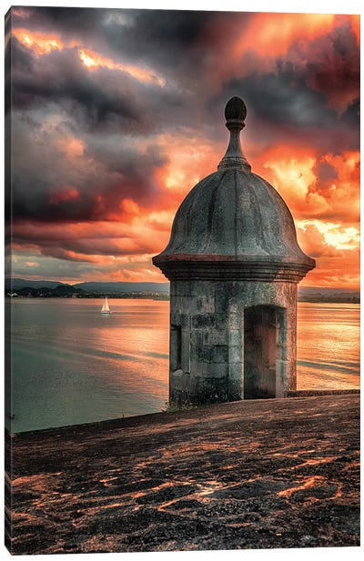 San Juan Bay Sunset with a Sentry Post Canvas Art Print