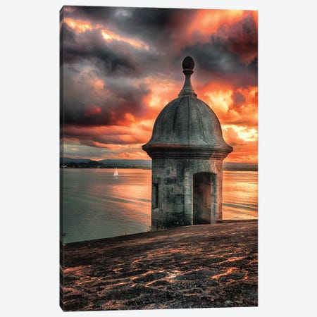 San Juan Bay Sunset with a Sentry Post 3-Piece Canvas #GOZ181} by George Oze Canvas Artwork