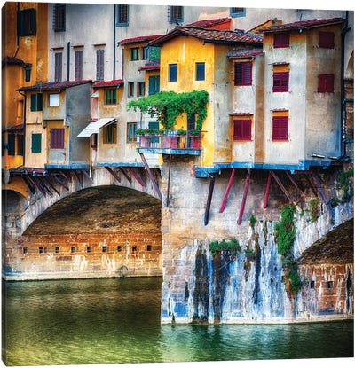 Small Balcony on a Bridge House, Ponte Vecchio, Florence, Tuscany, Italy Canvas Art Print
