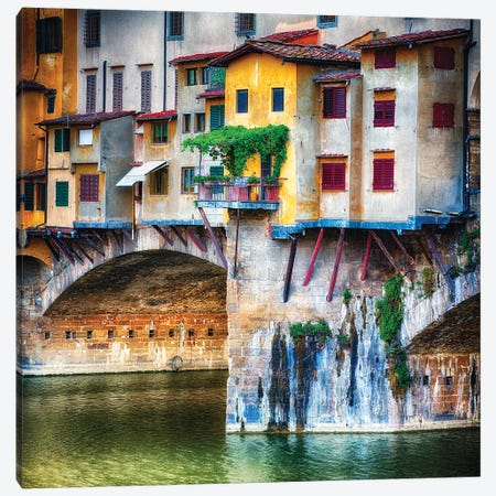 Small Balcony on a Bridge House, Ponte Vecchio, Florence, Tuscany, Italy 3-Piece Canvas #GOZ184} by George Oze Canvas Art Print
