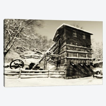 Snow Covered Historic Quarry Building, Clinton Red Mill Village, New Jersey Canvas Print #GOZ185} by George Oze Canvas Art Print