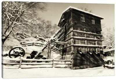 Snow Covered Historic Quarry Building, Clinton Red Mill Village, New Jersey Canvas Art Print