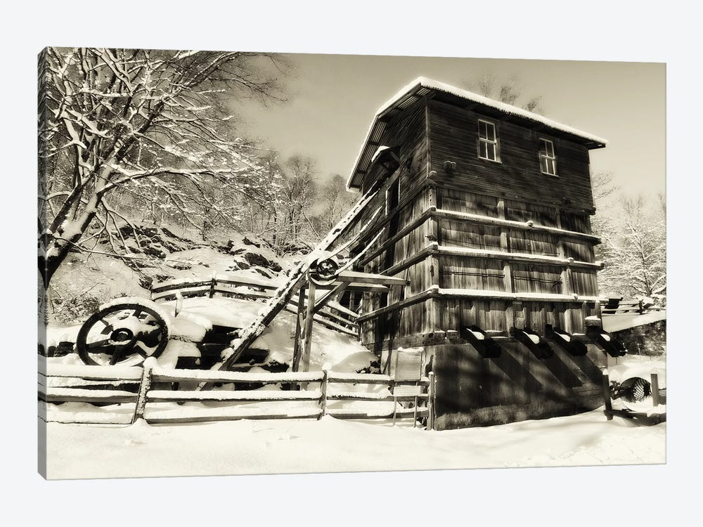 Snow Covered Historic Quarry Building, Clinton Red Mill Village, New Jersey by George Oze 1-piece Canvas Print