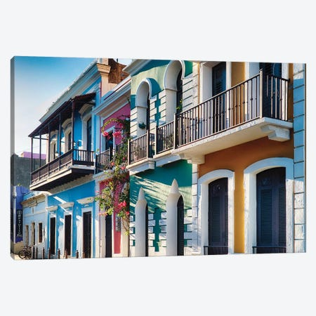 Spanish Colonial and Moorish Style Houses In Old San Juan, Puerto Rico Canvas Print #GOZ189} by George Oze Canvas Wall Art