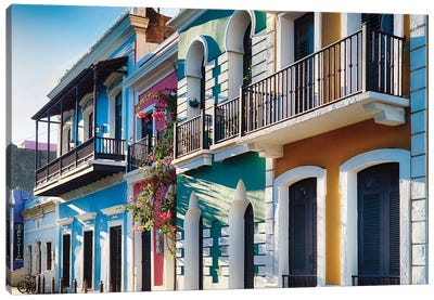 Spanish Colonial and Moorish Style Houses In Old San Juan, Puerto Rico Canvas Art Print