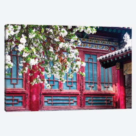 Blooming Tree in front of a traditional Chinese Building, Beilin, Xian, China Canvas Print #GOZ18} by George Oze Canvas Wall Art
