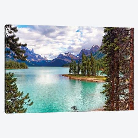 Spirit Island on Maligne Lake, Alberta, Canada Canvas Print #GOZ191} by George Oze Art Print