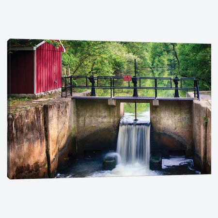 Spring Canal Lock Scene  Canvas Print #GOZ192} by George Oze Art Print