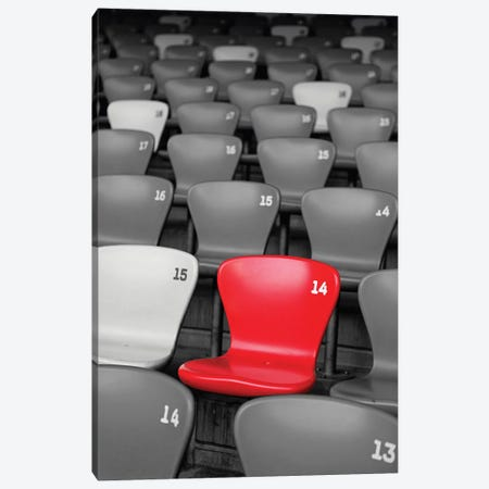Stadium Seats in Black and White with a Single Red Seat  Canvas Print #GOZ193} by George Oze Art Print