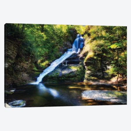 Summer View of the Dingmans Fall, Pennsylvania Canvas Print #GOZ195} by George Oze Canvas Art