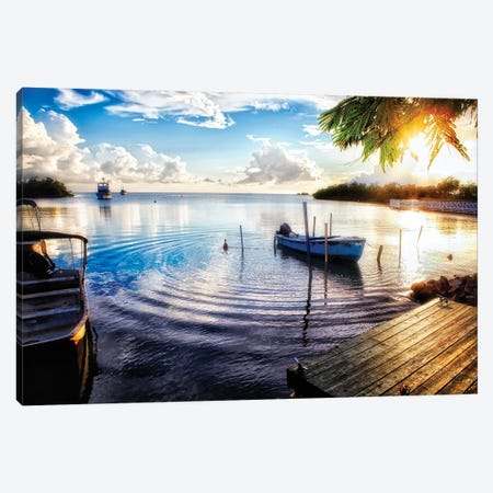 Sunset in a Fishing Village, La Parguera, Puerto Rico Canvas Print #GOZ197} by George Oze Canvas Artwork