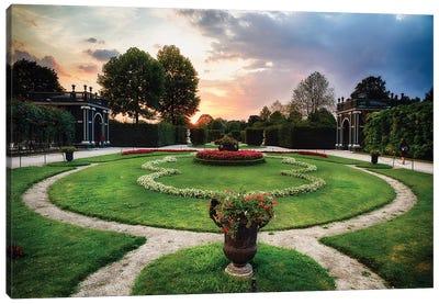 Sunset View of a Garden with Pavilions, Schonbrunn Palace, Vienna, Austria Canvas Art Print