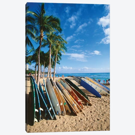 Surfboards on Waikiki Beach, Honolulu, Hawaii Canvas Print #GOZ200} by George Oze Canvas Print