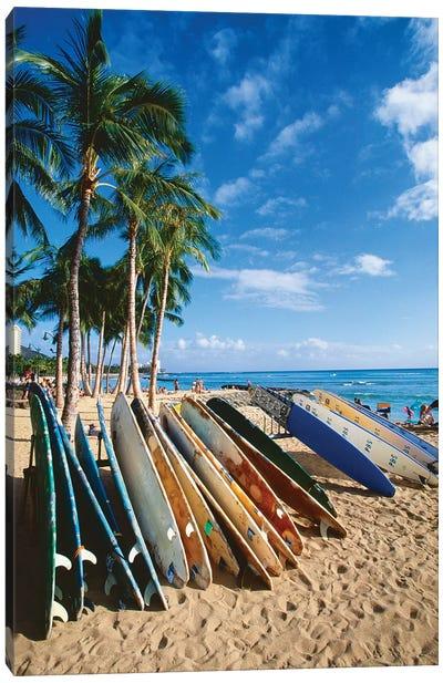 Surfboards on Waikiki Beach, Honolulu, Hawaii Canvas Art Print
