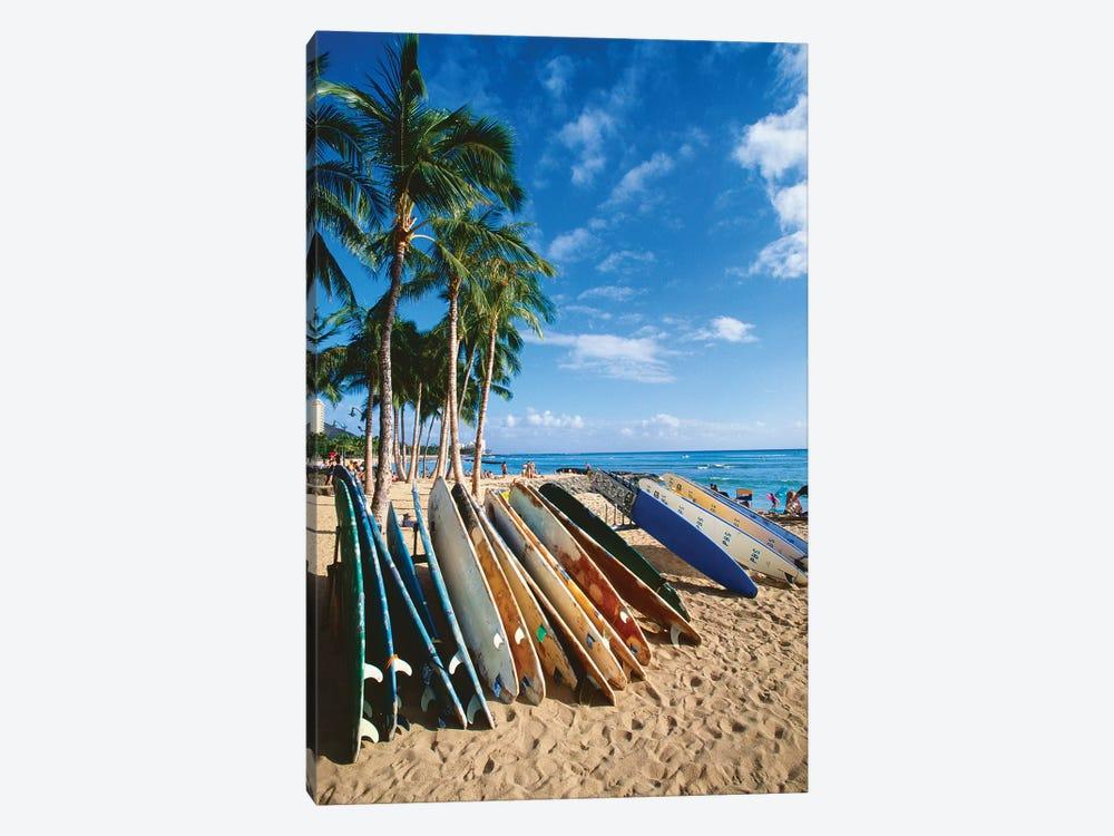 Surfboards on Waikiki Beach, Honolulu, Hawaii by George Oze 1-piece Canvas Artwork