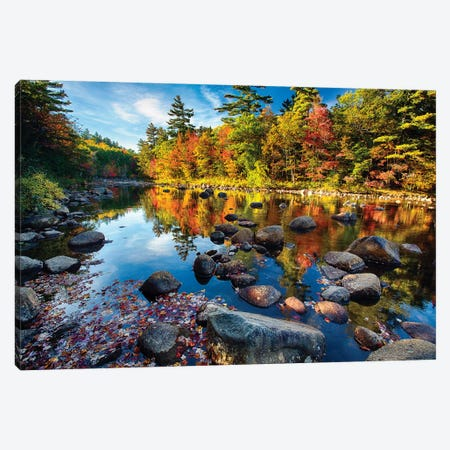 Swift River Fall Foliage Reflections Canvas Print #GOZ202} by George Oze Art Print
