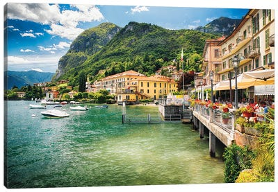 Terrace Overlooking Lake Como, Menaggio, Lombardy. Italy Canvas Art Print