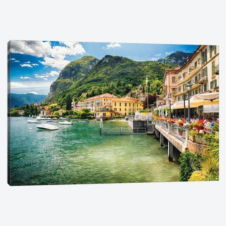 Terrace Overlooking Lake Como, Menaggio, Lombardy. Italy Canvas Print #GOZ204} by George Oze Canvas Wall Art