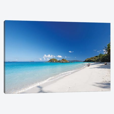 Turquoise Waters of a White Sand Beach, Trunk Bay,St John, US Virgin Islands Canvas Print #GOZ212} by George Oze Canvas Art