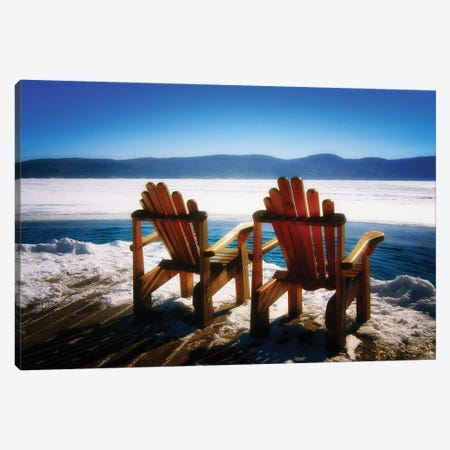 Two Adirondack Chairs on a Deck in Winter, Lake George, New York Canvas Print #GOZ213} by George Oze Canvas Wall Art
