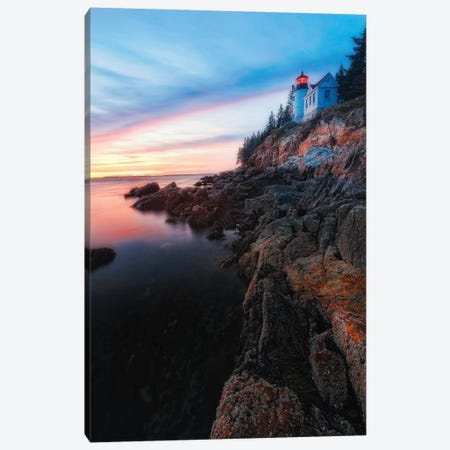 Vertical View of a Lighthouse on a Cliff at Sunset, Bass Harbor Head Lighthouse, Maine Canvas Print #GOZ219} by George Oze Canvas Art