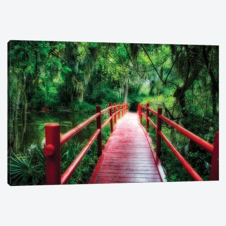 View of a Red Wooden Footbridge in a Southern Marshy Garden, Magnolia Plantation, Charleston, South Carolina Canvas Print #GOZ220} by George Oze Art Print