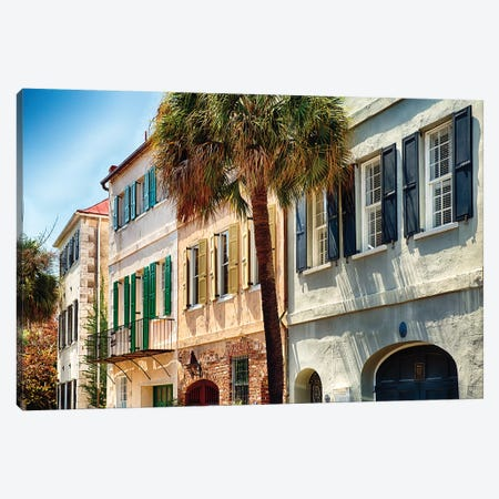 View of Colorful House Exteriors on Church Street, Charleston, South Carolina, USA Canvas Print #GOZ221} by George Oze Canvas Art Print