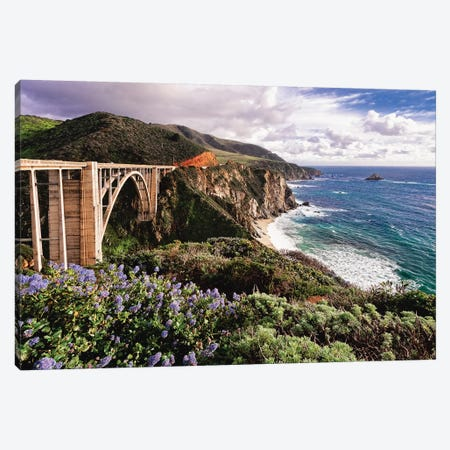 View Of The Bixby Creek Bridge Big Sur California Canvas Print #GOZ222} by George Oze Canvas Print