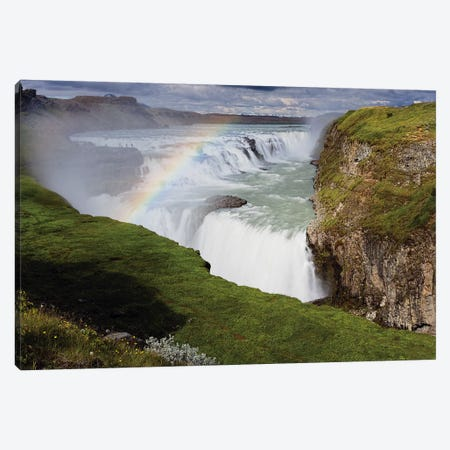 View of the Gulfoss Waterfall, Iceland Canvas Print #GOZ223} by George Oze Art Print