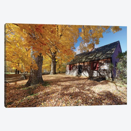 View of the Historic Wicks Farmhouse Through Colorful Fall Foliage, Jockey Hollow State Park, New Jersey Canvas Print #GOZ224} by George Oze Canvas Wall Art