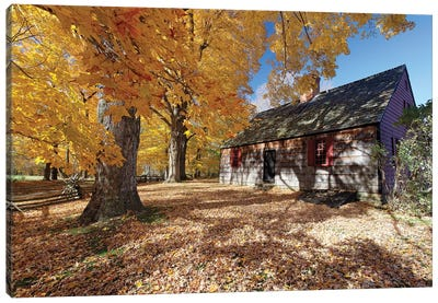 View of the Historic Wicks Farmhouse Through Colorful Fall Foliage, Jockey Hollow State Park, New Jersey Canvas Art Print