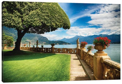 Villa Terrace at Lake Como, Lombardy, Italy Canvas Art Print