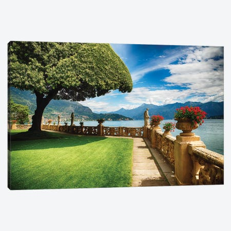 Villa Terrace at Lake Como, Lombardy, Italy Canvas Print #GOZ227} by George Oze Canvas Art