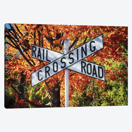 Vintage Rail Crossing  Sign in a Bright Autumn Day Canvas Print #GOZ228} by George Oze Art Print