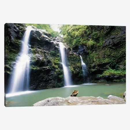 Waikani Falls, Maui, Hawaii Canvas Print #GOZ230} by George Oze Canvas Artwork