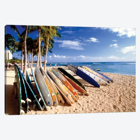 Waikiki Beach Surfboards Canvas Print #GOZ231} by George Oze Canvas Artwork