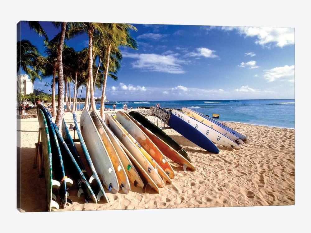 Waikiki Beach Surfboards by George Oze 1-piece Canvas Art