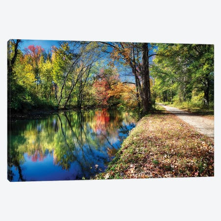 Bright Autumn Day at the D & R Canal, Princeton, New Jersey 3-Piece Canvas #GOZ23} by George Oze Canvas Print