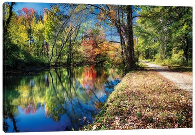 Bright Autumn Day at the D & R Canal, Princeton, New Jersey Canvas Art Print