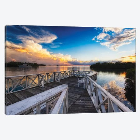 Wooden Dock with Sunset, La Parguera, Puerto Rico Canvas Print #GOZ242} by George Oze Canvas Print