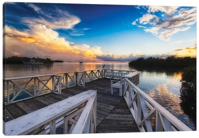 Wooden Dock with Sunset, La Parguera, Puerto Rico Canvas Art Print