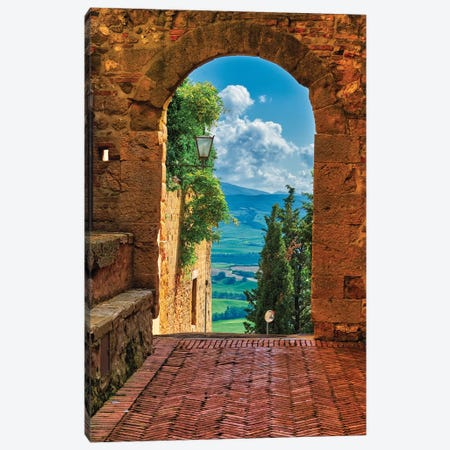 Arch With The View Of The Tuscan Countryside, Pienza, Tuscany, Italy Canvas Print #GOZ243} by George Oze Canvas Art Print